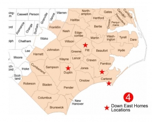 Counties seved by Down East Homes NC