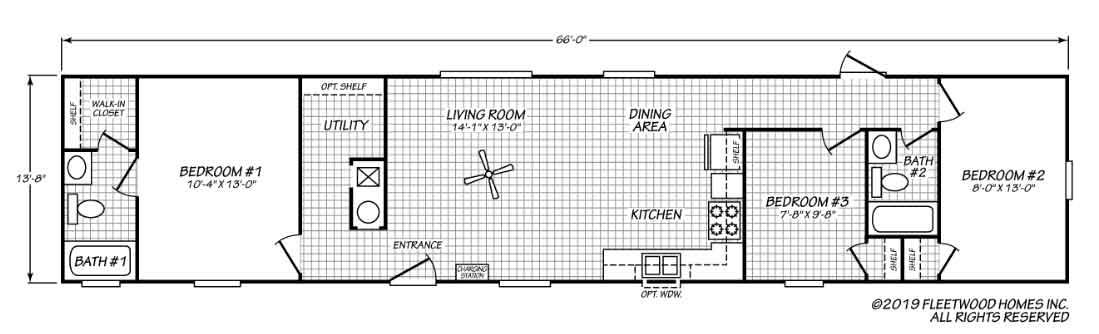 Pure Single Wide Floor Plan NC