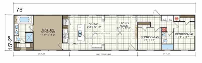 Halifax Single Wide Floor Plan NC