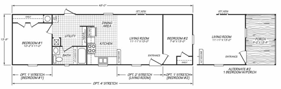 2 Bed Single Wide Floor Plan - Morehead City NC