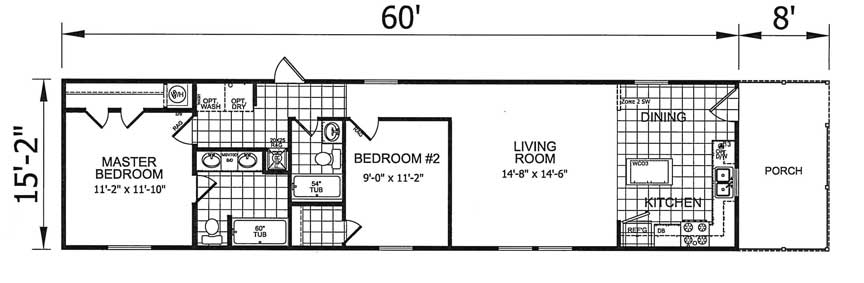 2 Bed Single Wide with Porch floor plan NC
